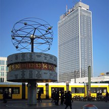 On Alexanderplatz with the World Time Clock and the Park Inn