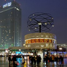 Alexanderplatz with the World Time Clock at night